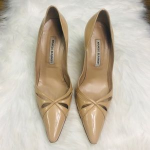 Manolo Blahnik Nude Patent Leather Pump Size 10